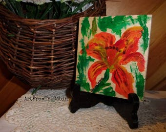 Flower Painting, Acrylic Painting, Painting on Wood, Orange Lily, Painting and Easel, Small Art, Original Art, ArtFromTheCabin