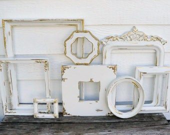 Set of 8 Open Frames - White and Gold - Wall Gallery - Nursery - Wedding - Vintage Frames - Frame Set - Scatter Frames - Oval Frame -Shabby