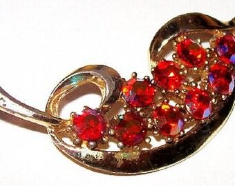 """Red Leaf Brooch Pin Aurora Borealis Rhinestones Gold Metal 2.5"""" Vintage"""