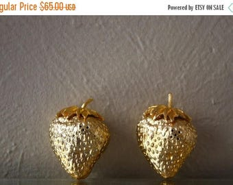 Clearance Sale Vintage Mid-Century Golden Strawberry Salt and Pepper Shakers