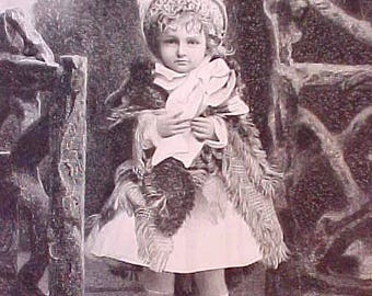 """Charming Early Victorian Engraving of Girl in """"Borrowed Plumes"""""""