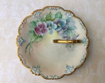 Sweetest Hand Painted Antique Serving Dish with Pansies in Soft Blues and Lavender