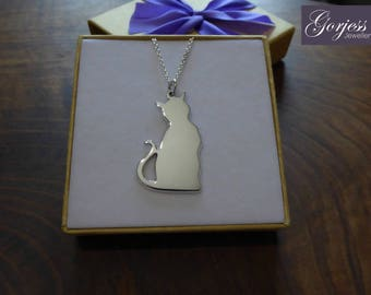 Silver Cat Necklace - Handmade Cat Pendant