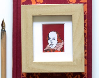 William Shakespeare Print Shakespeare Print Book Worm Print Framed Print Book Lover Miniature Frame Theatre