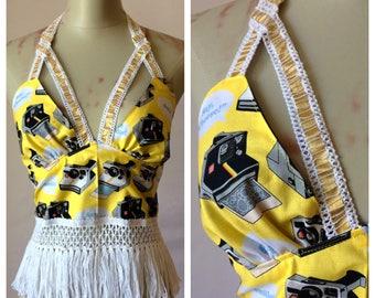 Polaroid Pretty Open Back Halter Top - Boob Straps - Camera Ready - Yellow Sunshine - Thick White Gold Lace Accents - One Size
