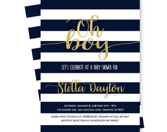 Navy Stripe Baby Shower Invitation Gold -- It's A Boy Invites -- Stylish & Mod - Baby Boy Sprinkle -- Party Invites -- Printable or Printing