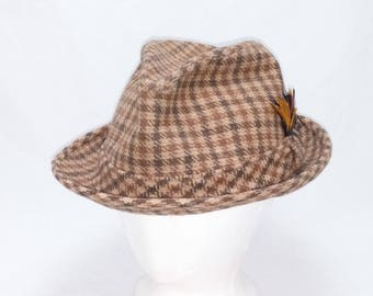 Vintage Stetson Fedora 1960s old man Hipster banded hat brown, beige, and tan plaid - geek chic - Size 7 3/8