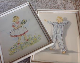 "2 Adorable Vintage Children's Prints Boy and Girl Bedroom Prints A. Lambert Product Print 8""by 10"" Made in The USA"