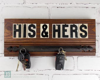 HIS & HERS Key Hook Organizer, Black Metal Hooks, Salvaged Reclaimed Wood, Repurposed Vintage Tin Letters, Wall Hanger, Brown Stained Finish