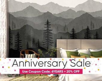 Black Ombré Mountain Wallpaper | Forest Tree and Mountain Wallpaper | Repositionable and Removable Wallpaper W1078