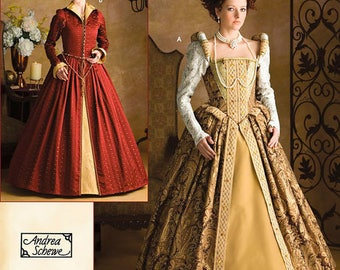 Simplicity Costume Pattern 3782 by ANDREA SCHEWE - Misses' Elizabethan Costume Dresses - Historical Costumes- Sizes 6-12