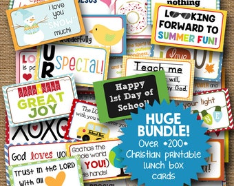 Lunch Box Notes for Kids | Lunchbox Notes for the Whole School Year | Huge Bundle of Christian Lunch Notes for Every Season | DIY PRINTABLE