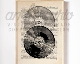 You Spin Me Right Round Vintage Vinyl Record Original Print on an Unframed Upcycled Bookpage