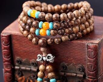 6mm/8mm/wenge Wood Bead Necklace, Mala Bead, Mala bracelet,japa mala , 108 Beads  turquoise bracelet