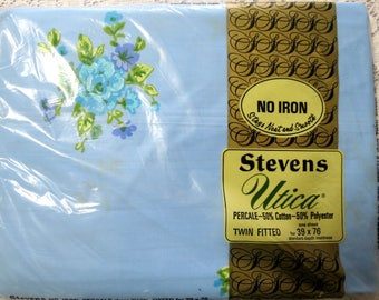 vintage twin fitted sheet 1960u0027s nos bedding stevens utica percale robins egg blue