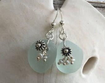 aqua sea glass and pearls earrings, sea glass sea urchin earrings, aqua sea glass earrings, authentic aqua sea glass earrings, beach wedding