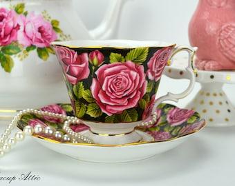 Royal Albert June Teacup And Saucer, English Bone China Tea Cup Set, Replacement China, Wedding Gift, Tea Party, ca. 1970-1980