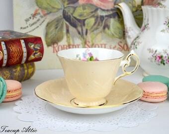 Paragon Peach Floral Teacup and Saucer Set, Garden Tea Party, Wedding Gift, ca. 1963