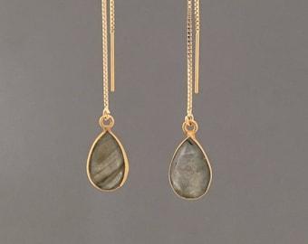 Gold Fill Bordered Labradorite Teardrop Box Chain Threader Earrings