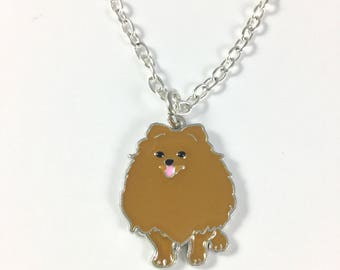 Pomeranian Charm Necklace - Pomeranian Jewelry - Pomeranian Dog Jewelry - Dog Lovers Jewelry - Dog Charm Jewelry - Color Dog Charm Jewelry