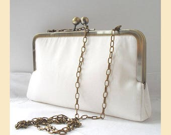 Wedding clutch bag, ivory silk, shoulder chain, silk bridal purse, bridal clutch, personalised clutch