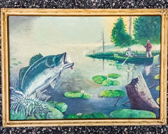 Trout Fishing Oil Painting Framed Signed P Drouin c1970's