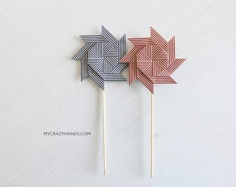 2+ origami pinwheel cake toppers | navy or red stripe | baby shower table decos || gift for unisex -your choice