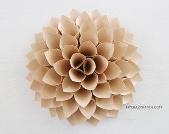 nursery wall decor || 7'' dahlia wall decor || paper dahlia || wedding flower | origami gifts || baby photography backdrop -tan