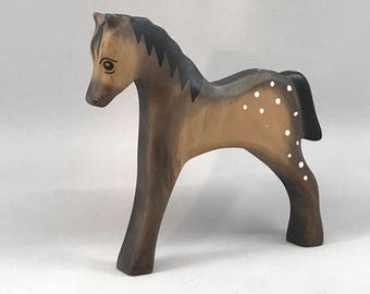 Toy wood horse grey white colourful Size: 15,5x13,8x2,1 cm (bxhxs) approx. 72  gr