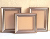 Trio of Vintage Wooden Picture Frames Silver and Gold Painted Wood 5x7 5x5