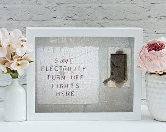 Quirky Modern Artwork; Digital Download: Turn Off the Lights; Save Electricity Modern Art Print; Funny Photograph; Ironic Photograph