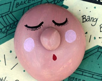 Painted rock, face, sleep face with nose rock, painted pebble, garden stone, paperweight, pink,  terrarium, office, sculptur