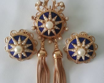 Vintage Gold Enamel and Pearl Brooch and Clip Earring Set