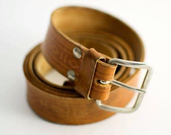 Vintage Women's Distressed Tan Brown Leather Belt Waist Large 34 36 38 40 FREE UK SHIPPING