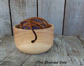 Wooden Yarn Bowl, Hand Turned Ash Wood