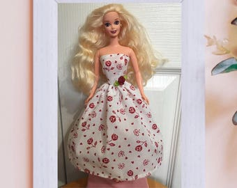 "Handmade Barbie Clothes Red Rose Heart Valentines Cotton Dress 11.5"" Fashion Doll Gown Silkstone"