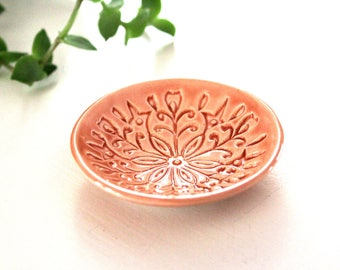 Ring Holder - Jewelry Bowl - Handmade ring dish with stamped Scandinavian floral pattern and peach glaze!  Scandi / Kurbits / Rosemaling