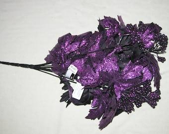 Black & Purple Floral Pick - Halloween Craft Supply