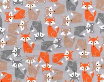 Snuggle Flannel Prints - Pretty Foxes on Gray - 23 inches