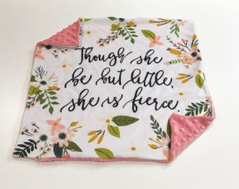 Though she is Little She is Fierce Baby Girl Blanket, Floral Sprigs and Bloom Minky Baby Blanket, Pink Baby Blanket, Baby Shower Gift