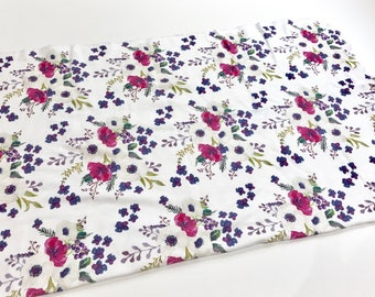 Purple Watercolour Floral Organic Cotton Knit Swaddle Blanket
