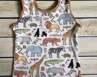Ready to Ship Organic Zoo Animals on Parade Tank Top Size 12-18m *seconds quality