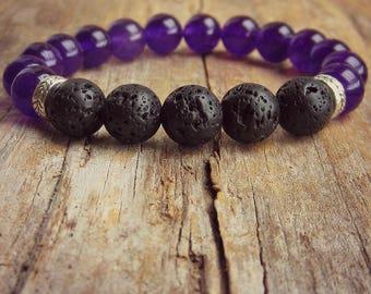 Lava Stone Bracelet • Aromatherapy • White Jade • Oil Diffuser Stone • Aromatherapy Bracelet • Essential Oil Bracelet • Healing Bracelet