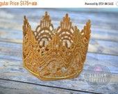 ON SALE Gold Lace Crown - DIY Crown Headband Tiara - Embroidered Applique Crown - Diy Photo Prop Cake Topper Princess Decor - Crown Embellis