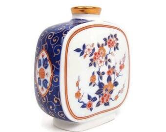 Vintage Otagiri OMC Japan Square Vase Hand Painted Bottle Cobalt Blue Burnt Orange Porcelain Ginger Jar