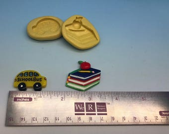 School themed bus and books with apple silicone mold set. Cupcake decor, chocolate molds, soap making