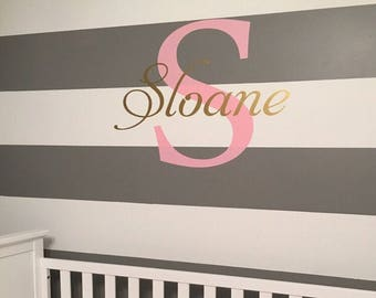 Personalized Wall Decal Vinyl Wall Decal Girls Nursery Decal Bedroom Wall Decal Vinyl Decor Wall Decal Nursery Bedroom Decor Name Initial
