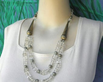 """10% OFF Art Deco Vintage Double Strand Clear Glass Nuggets & Brushed Goldtone 29"""" Necklace"""