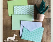 DOLLAR DEAL! Greenery. Note Cards (Set of 4) -- (Vintage-Style, Geometric, Green, Succulent, Thank You Card, Cute Hello, Mint, Stripe Grid)