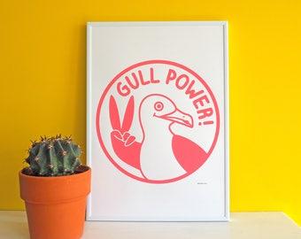 Gull Power Screenprint, Pink Girl Power Print, Funny Screenprint Poster, Feminist Art, Seagull Screenprint, Seaside Art, Bird Illustration